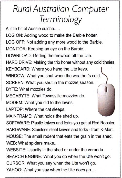 Aussie Computer Terminology