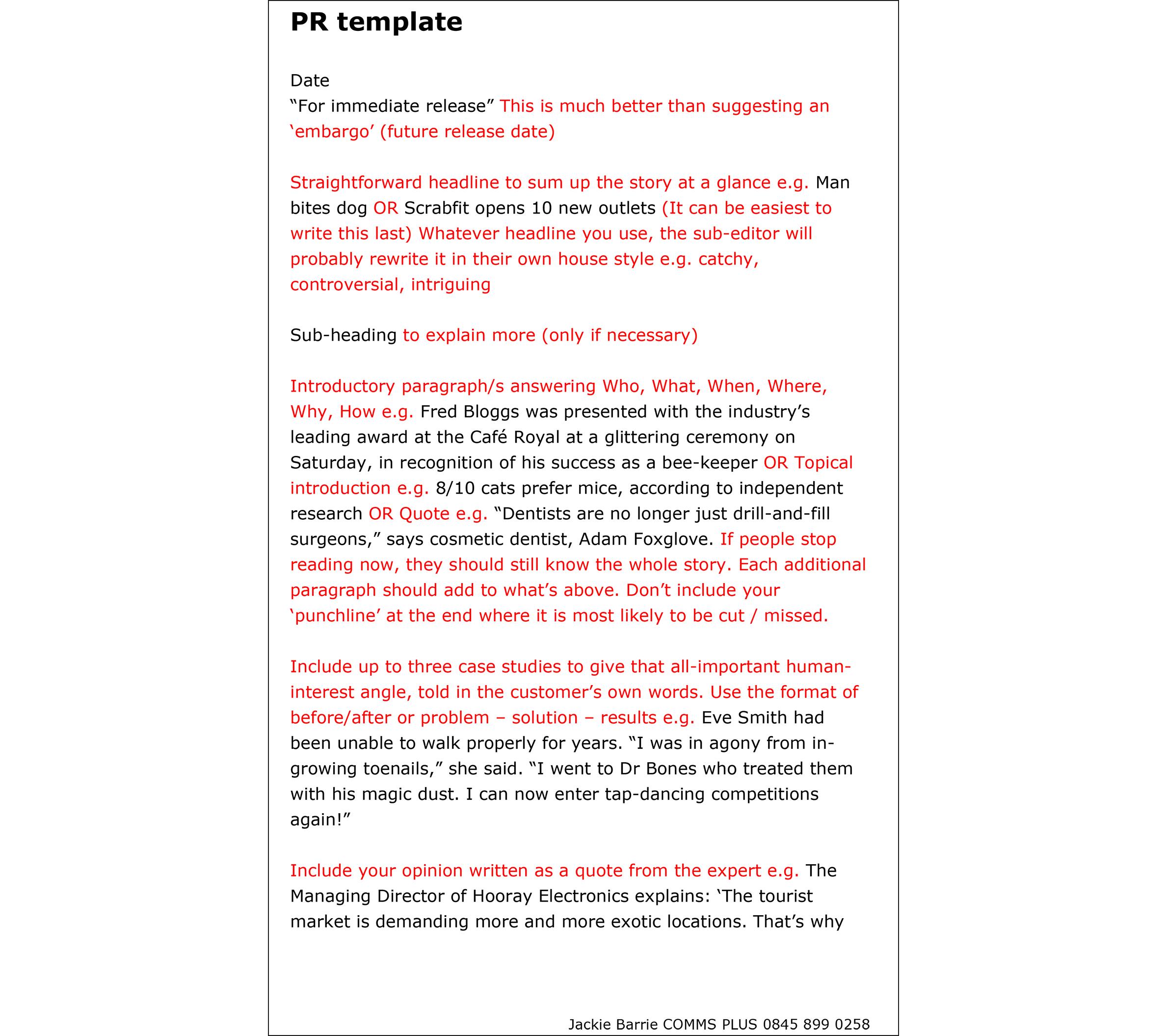 pr portfolio template pr template
