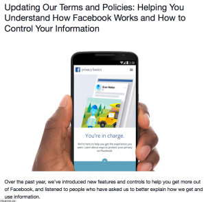 Facebook T and Cs update